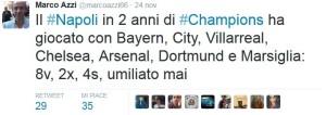 Azzi in Champions il Napoli mai umiliato