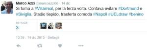 Azzi UEL contava evitare Dortmund e Siviglia