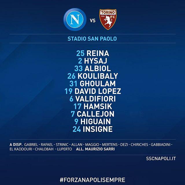 #NapoliTorino: la nostra formazione ufficiale! #SerieATIM #ForzaNapoliSempre