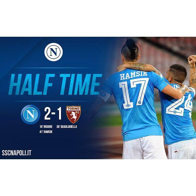 #NapoliTorino 2-1: ottimo primo tempo degli azzurri che chiudono in vantaggio grazie ai gol di #Insigne e #Hamsik. #ForzaNapoliSempre @seriea_tim
