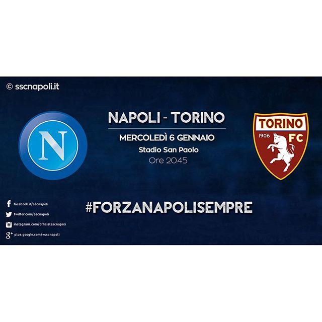 #NapoliTorino, 18ª giornata @seriea_tim, Stadio San Paolo, mercoledì 6 gennaio, ore 20.45. #ForzaNapoliSempre