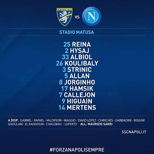 #FrosinoneNapoli: la nostra formazione ufficiale! @seriea_tim #ForzaNapoliSempre