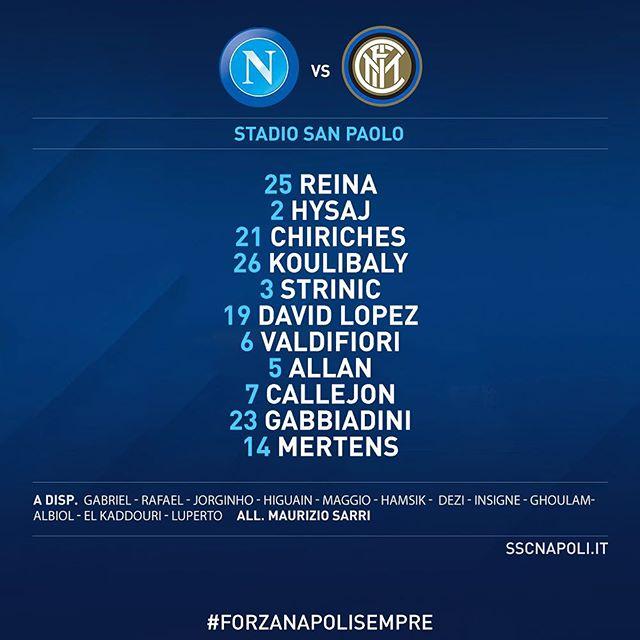 #NapoliInter: la nostra formazione ufficiale! #TimCup #ForzaNapoliSempre