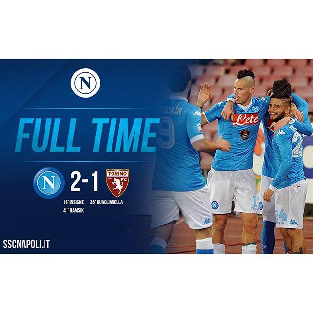 #NapoliTorino 2-1: inizia bene il 2016 per gli azzurri, che vincono grazie ai gol di #Insigne e #Hamsik @seriea_tim #ForzaNapoliSempre